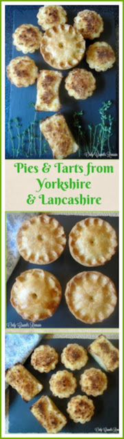 Inspired by the traditional dishes and produce available in Yorkshire and Lancashire are these two different savoury bakes:  Vegetarian Lancashire 'Hotpot' Individual Pie in a hotwatercrust pastry and mini Wensleydale Cheese Tarts with Caramalised Onions
