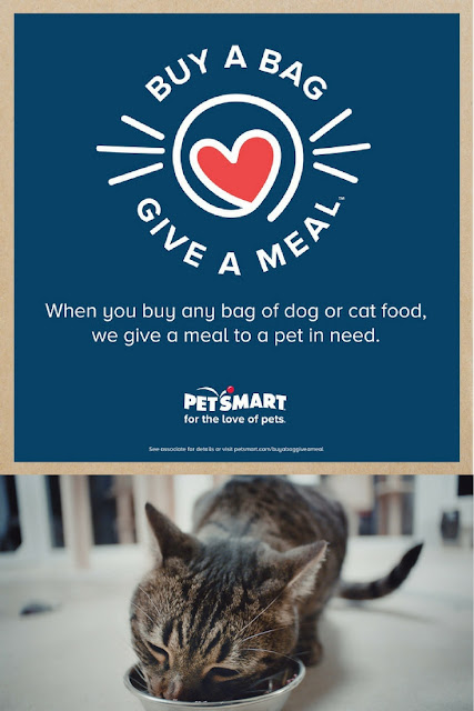 For every bag of dog or cat food purchased, PetSmart will donate a bag of food to a shelter, rescue, or food bank.