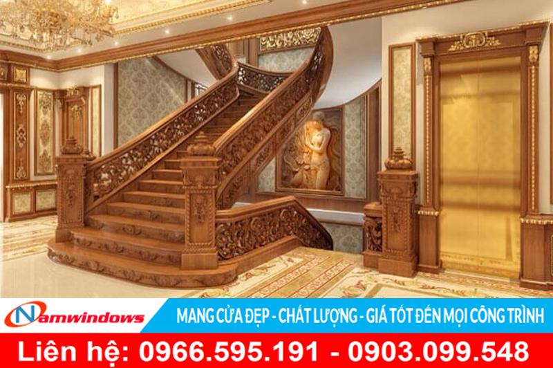 Mẫu cầu thang gỗ đẹp cho biệt thự cao cấp hay căn hộ nghỉ dưỡng cao cấp