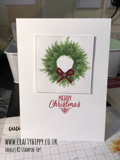 Take a look at this Christmas wreath card. I have swapped sunflowers for a Christmas wreath. I used the Painted Harvest stamp set by Stampin' Up!