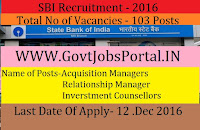 SBI State Bank Of India Recruitment 2016