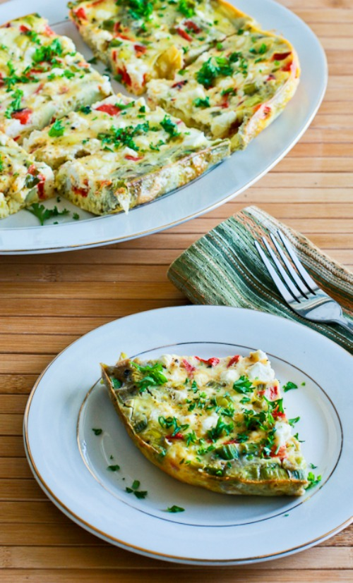 Slow Cooker Frittata with Artichoke Hearts, Roasted Red Pepper, and Feta found on KalynsKitchen.com