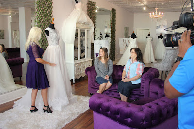 Tori Bates and Kelly Bates with wedding dress designer Renee Miller