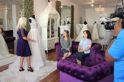 Tori Bates and Kelly Bates with wedding dress designer Renee Miller