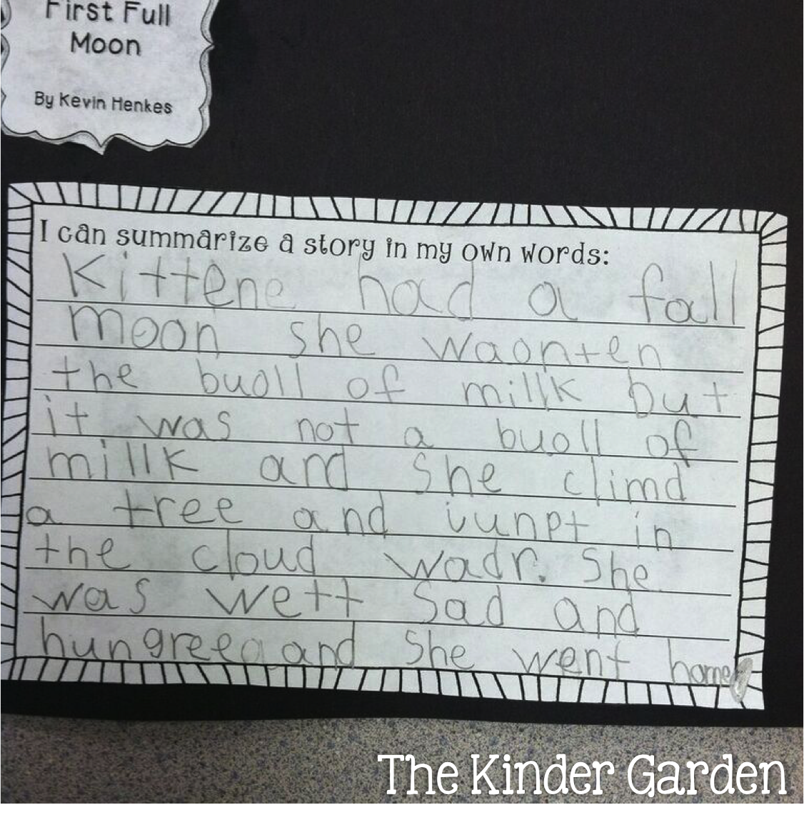 The Kinder Garden Teaching Story Elements With Kevin