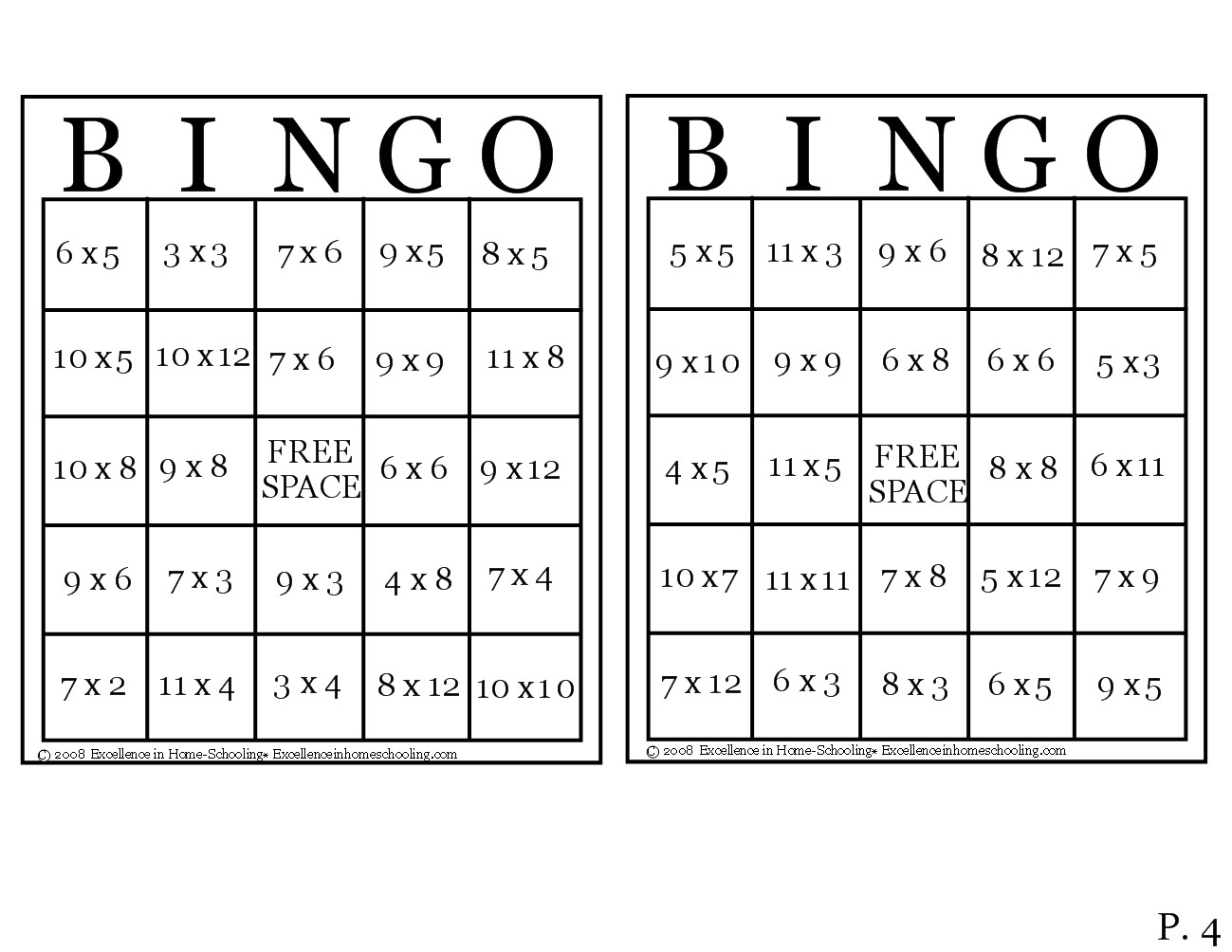 Laura S Frayed Knot Times Table Bingo