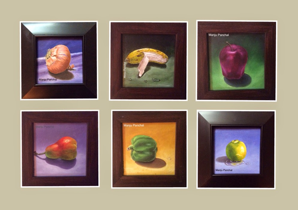 "arrangement of small 6"" X 6"" canvas oil paintings of fruits and vegetables by manju Panchal"