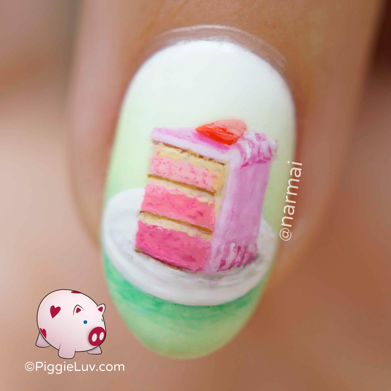 Piggieluv piece of cake nail art i made a gradient with moomoos signatures seafoam daisy bells of ireland and glisten glow wedding gown white its a very soft subtle gradient because prinsesfo Gallery