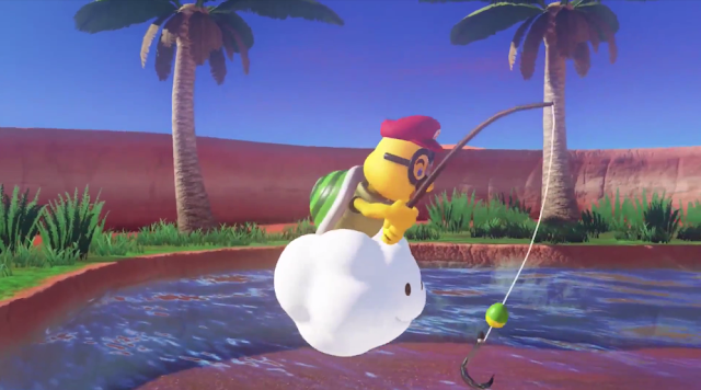 Super Mario Odyssey Lakitu captured fishing rod Cappy cloud