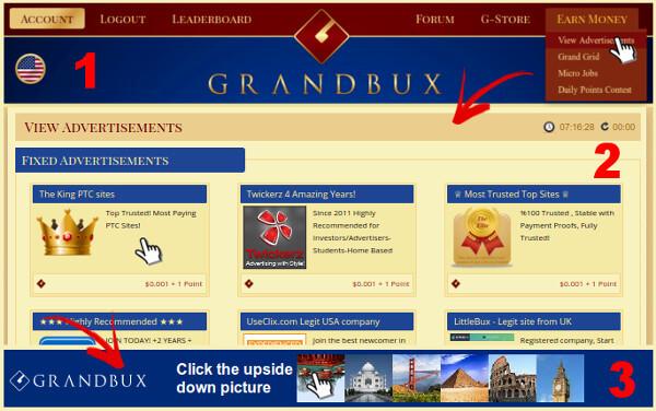 grandbux gana dinero clic ads ptc
