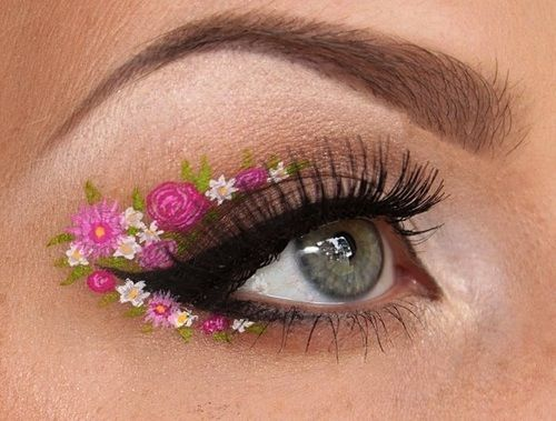 make-up summer look pink flowers