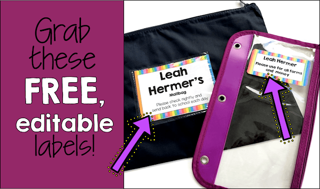 Free editable labels to use with mailbags to manage home - school communication