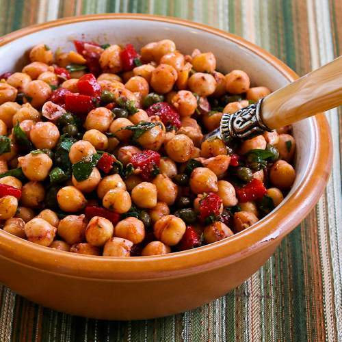 Original photo Sauteed Chickpea Salad with Roasted Red Peppers, Mint, and Sumac found on KalynsKitchen.com.