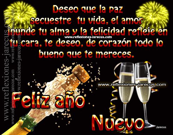 Deseo que la paz secuestre tu vida, el amor inunde tu alma y la felicidad refleje en tu cara, te deseo, de corazón todo lo bueno que te mereces. Feliz Año Nuevo!!