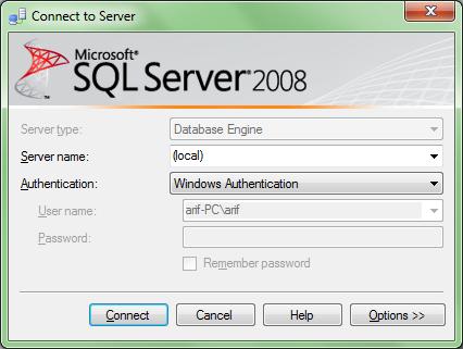 tampilan login sql server 2008