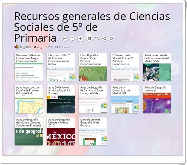 """""""13 Recursos generales de Ciencias Sociales de 5º de Primaria"""""""