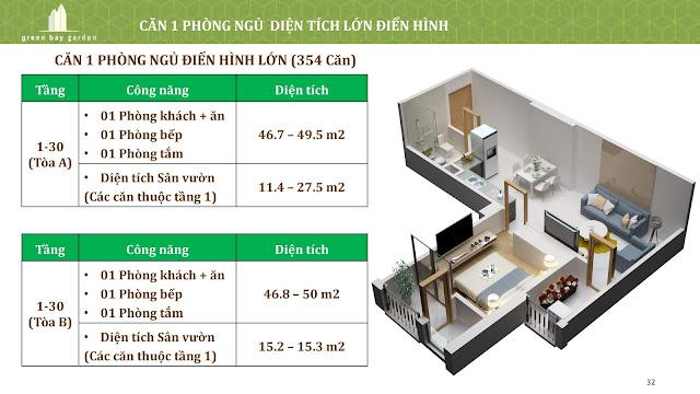Căn 1 phòng ngủ điển hình lớn