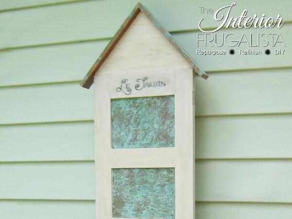 5-Panel Door Repurposed Into Flower Box With Oxidized Tin Panels