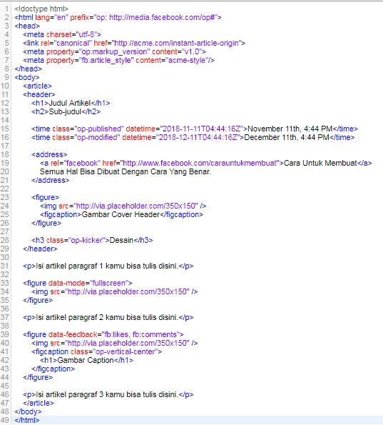 Markup HTML Facebook Instant Article