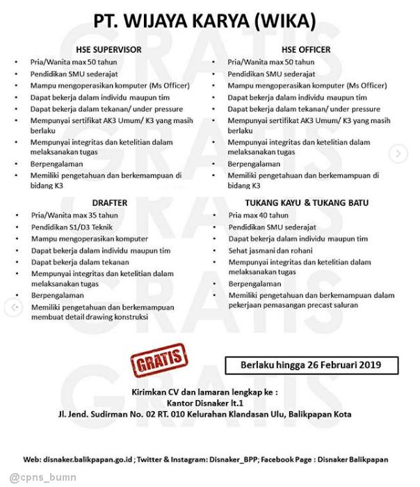Lowongan BUMN PT Wijaya Karya Tingkat SMA D3 S1 Via Disnaker BPP