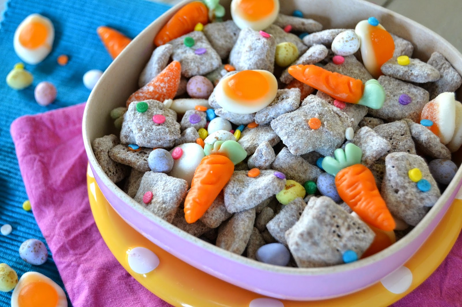 malt cereal coated in milk chocolate and icing sugar and tossed with Easter treats