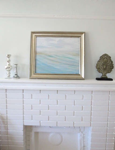 beachscape painting over fireplace charleston painting