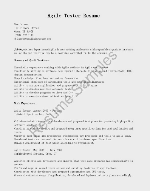Resume Samples Agile Tester ResumeUse This FREE Sample With Objective Skills Responsibilities To Write Your Own Instantly