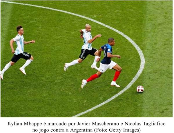 Kylian Mbappe é marcado por Javier Mascherano e Nicolas Tagliafico no jogo contra a Argentina