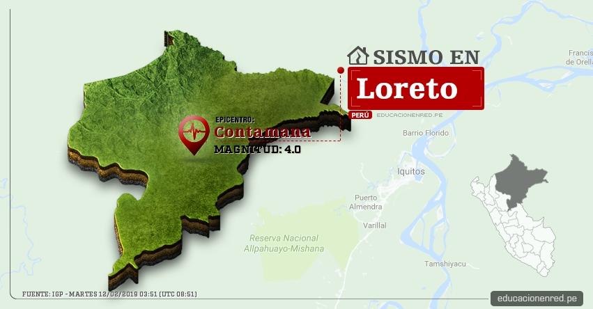 Temblor en Loreto de Magnitud 4.0 (Hoy Martes 12 Febrero 2019) Sismo Epicentro Contamana - Ucayali - IGP - www.igp.gob.pe