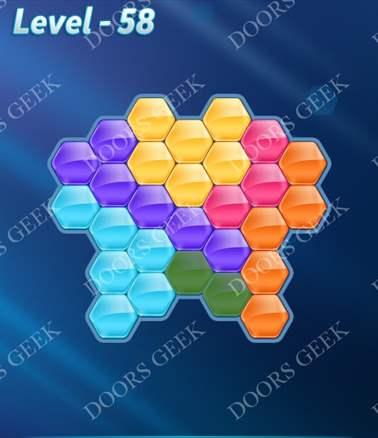Block! Hexa Puzzle [6 Mania] Level 58 Solution, Cheats, Walkthrough for android, iphone, ipad, ipod