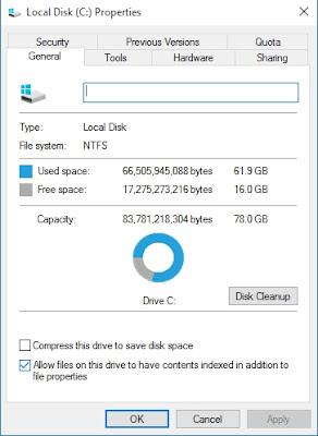 Jumlah Kapasitas Ruang Hard Disk yang Tidak Sesuai