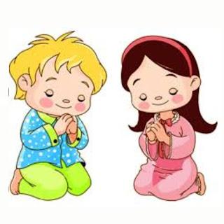 dibujos color niños rezando
