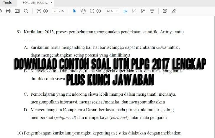 Download Contoh Soal UTN PLPG 2017 Lengkap Plus Kunci Jawaban