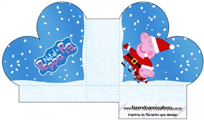 Caja abierta en forma de corazón de Peppa Pig en Navidad.
