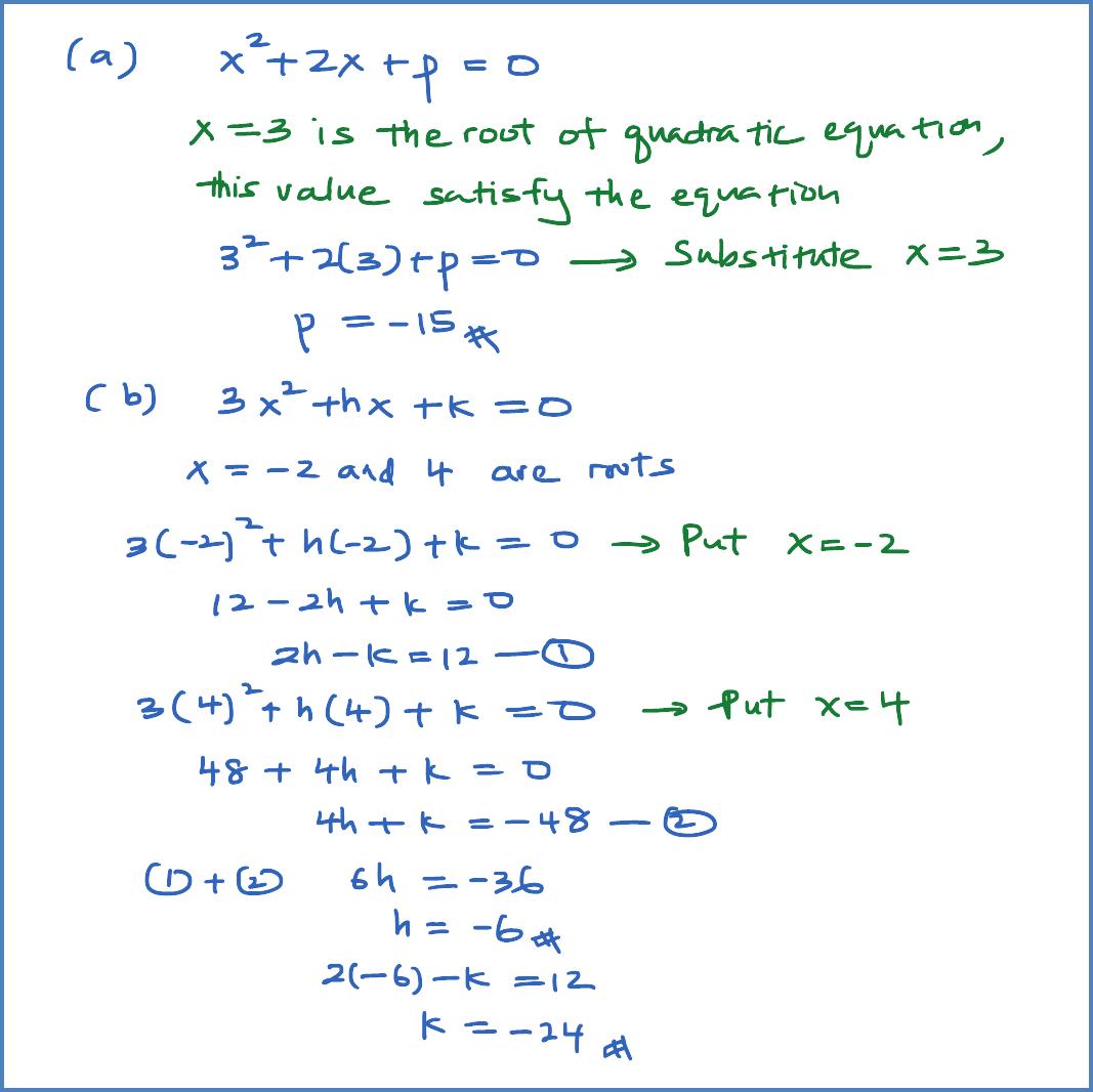 Quadratic Equations Examples