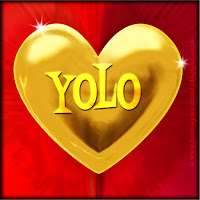 'YOLO' text on gold heart free image for texting