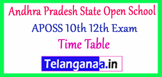 Andhra Pradesh State Open School  10th 12th Annual Exam Time Table