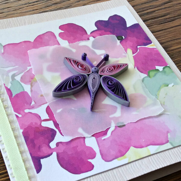 quilled butterfly on watercolor greeting card