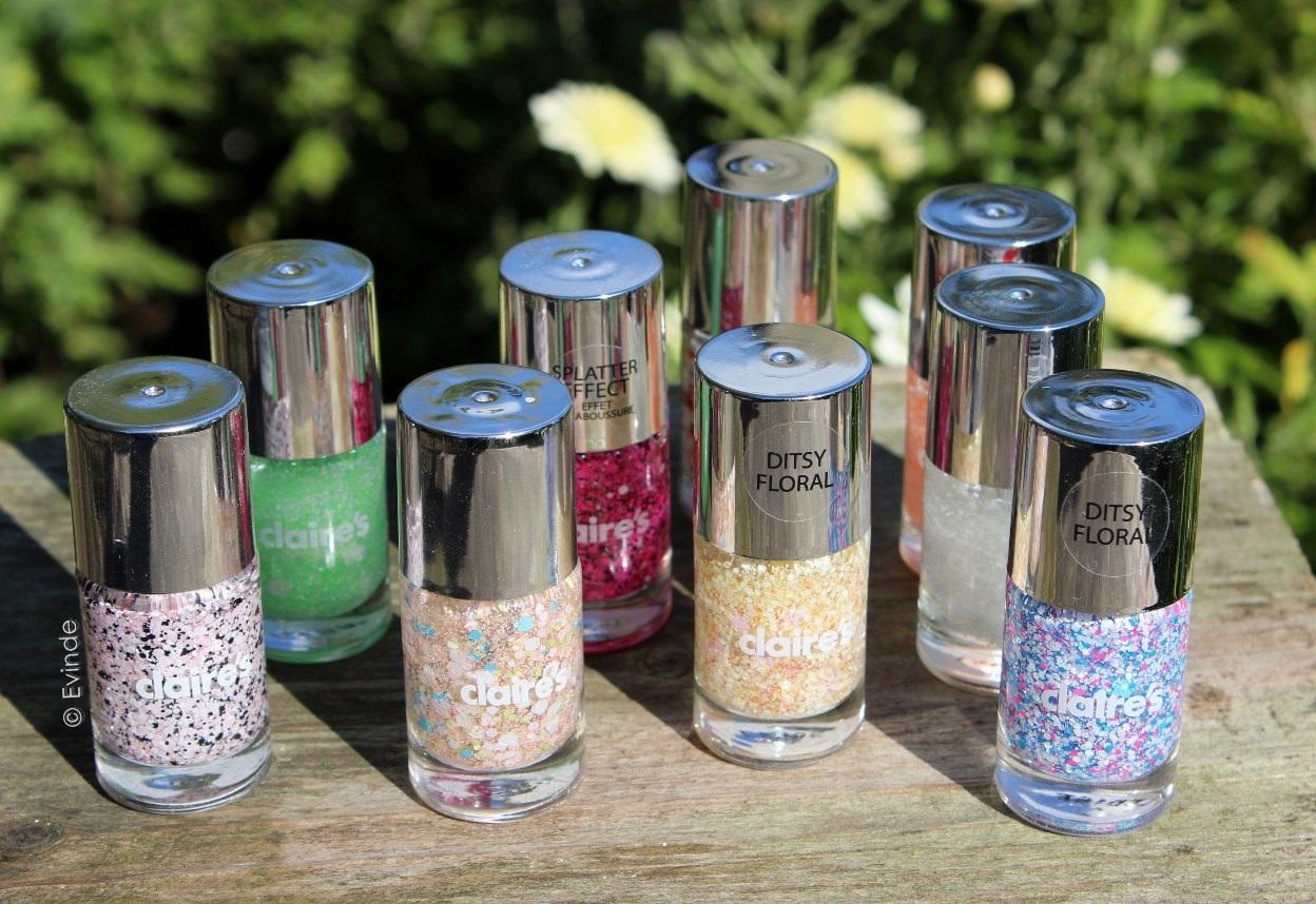 claires glitter nail polishes haul
