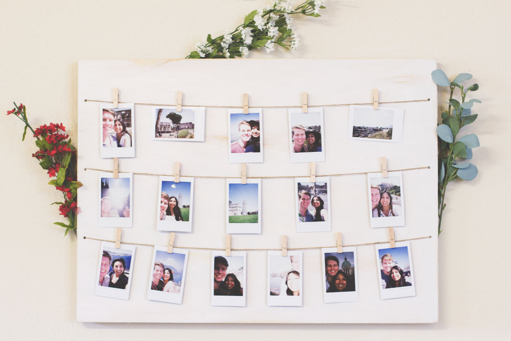 DIY Bohemian Home | Distressed Clothespin Polaroid Photo Display