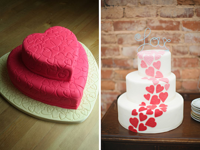 bolo de casamento corações