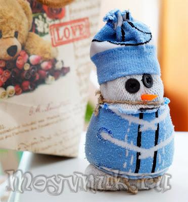 Снеговик-спортсмен из носка, фото