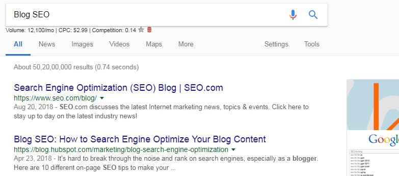 Blog SEO search in google engine