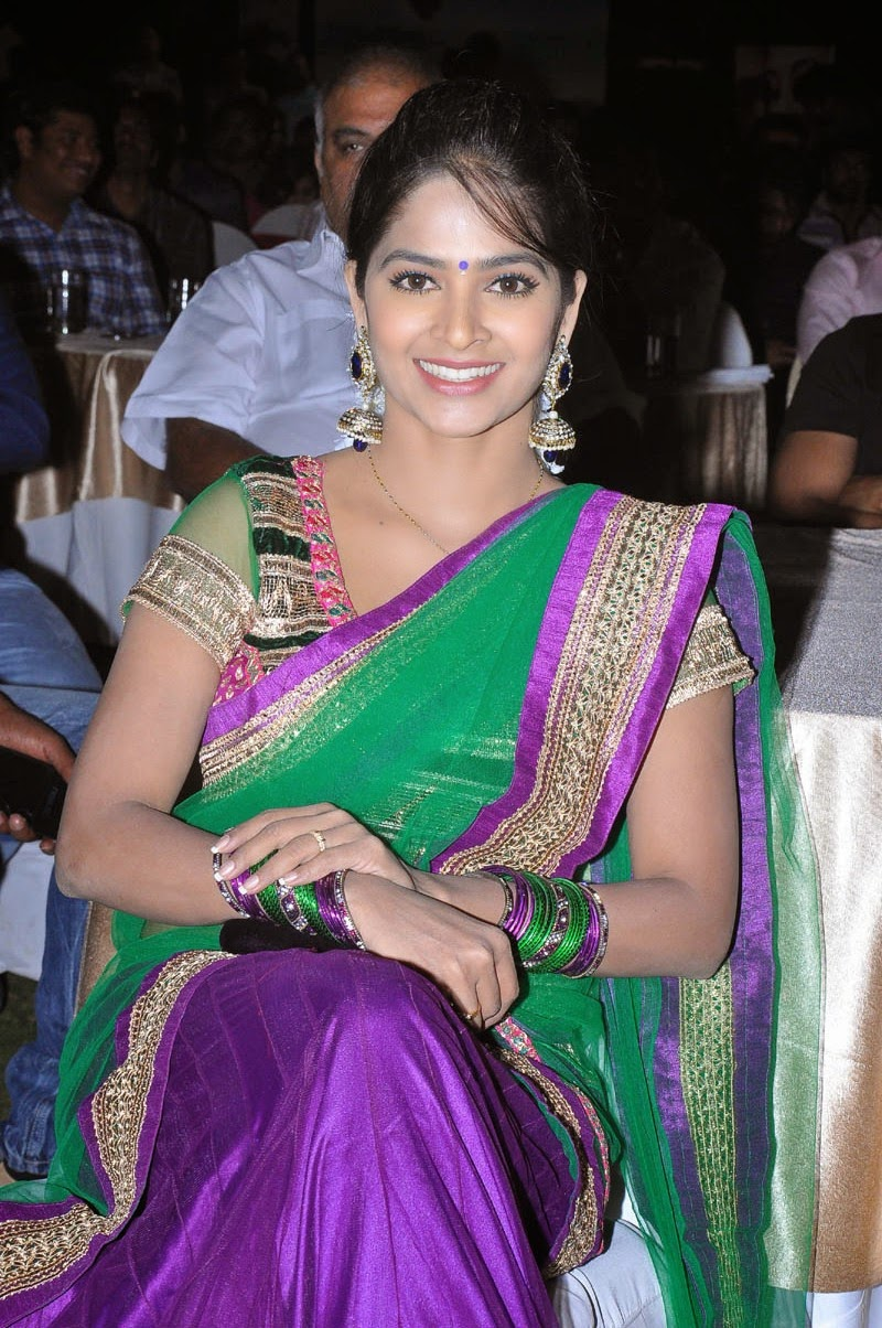 Madhumitha Photos At Movie Audio Launch In Green Half Saree