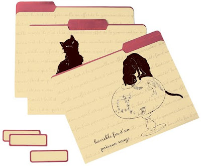 file folders with black cats - Le Chat Noir