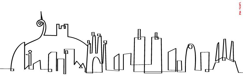 Vinilo Decorativo Skyline Barcelona