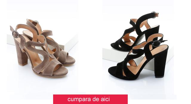 Sandale de catifea negre, maro cu toc gros si ianlt ieftine de zi