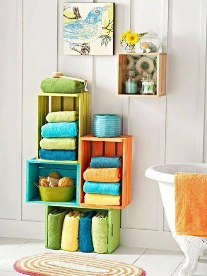 nicho banheiro reutilizar caixotes de madeira