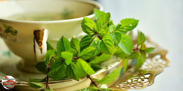 "Featured in the article: ""Relaxation Revelations: 4 Easy Ways to Reduce Stress"". Sip Some Green Tea, Cup of tea, tea leafs"