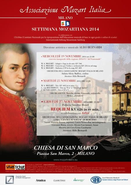 27 novembre concerto della Stagione Mozartiana per il ventennale della Associazione Mozart Italia Milano: sconti per i lettori di Eventiatmilano.it